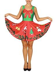 Ternos de Papai Noel Uma Peça Vestidos Feminino Natal Festival / Celebração Trajes da Noite das Bruxas Vermelho Natal