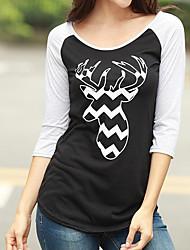 preiswerte -Damen Druck Street Schick Andere T-shirt,Rundhalsausschnitt Langarm Baumwolle