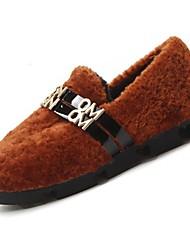 Femme Chaussures Laine synthétique Hiver Confort Mocassins et Chaussons+D6148 Bout rond Pour Noir Marron Rouge