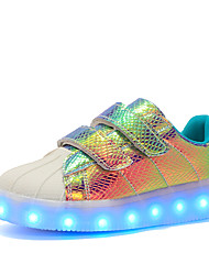 cheap -Women's Shoes Synthetic Winter Fall Comfort Light Up Shoes Sneakers Round Toe Sparkling Glitter Hook & Loop LED for Casual Outdoor White