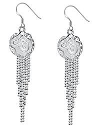 abordables -Pendientes de gota de las mujeres de moda joyería de plata elegante flor para la fiesta de bodas