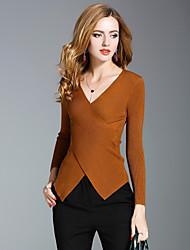 preiswerte -Damen Solide Street Schick Ausgehen Lässig/Alltäglich Pullover,V-Ausschnitt Langarm Nylon Mittel