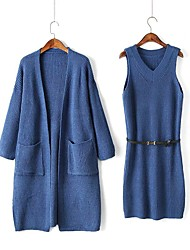 Women's Work Wear Going out Casual Street chic Spring/Fall Wrap Dress Suits,Solid V Neck Long Sleeves Acrylic Stretchy