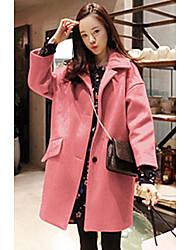 cheap -Women's Daily Street chic Spring Fall Coat,Solid Notch Lapel Long Sleeves Long Wool
