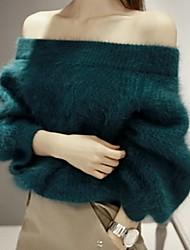 cheap -Women's Daily Regular Pullover,Solid Boat Neck Long Sleeves Rex Rabbit Fur Winter Spring/Fall Medium Stretchy