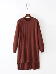 Women's Going out Casual/Daily Simple Street chic Loose Sweater Dress,Solid Round Neck Above Knee Long Sleeves Cotton Others Spring Fall