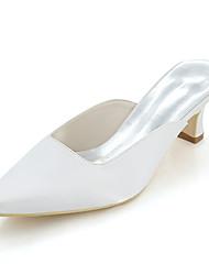 preiswerte -Damen Schuhe Satin Frühling Sommer Pumps Cloggs & Pantoletten Block Ferse Quadratischer Zeh Für Hochzeit Party & Festivität Purpur Rot