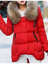 preiswerte -Damen Gefüttert Mantel,Standard Street Schick Lässig/Alltäglich Solide-Kunst-Pelz / Polyester Polyester LangarmBlau / Rosa / Rot /