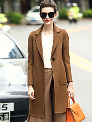Women's Daily Wear to work Simple Casual Winter Coat,Solid Tailored Collar Long Sleeves Regular Wool