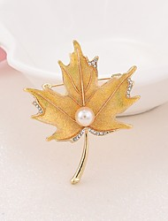 cheap -Women's Brooches - Imitation Pearl Leaf Simple, Elegant Brooch Gold For Going out / Office & Career