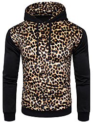 cheap -Men's Daily Casual Hoodie Leopard Hooded Micro-elastic Cotton Spandex Long Sleeves Winter Fall