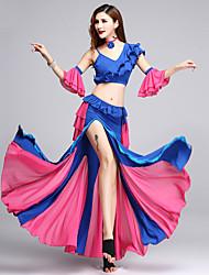 baratos -nós roupas de dança do ventre desempenho feminino plissados de poliéster split joint split sem mangas cai faldas tops