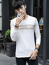 Men's Daily Wear Vintage T-shirt,Striped Round Neck Long Sleeves Cotton