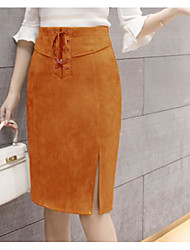 Women's Going out Daily Above Knee Skirts Bodycon Split Solid Fall Winter