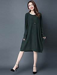 cheap -Women's Daily Going out Tunic Dress,Solid Round Neck Knee-length Long Sleeves Cotton Mid Rise Inelastic Medium