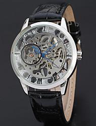 baratos -WINNER Homens Mecânico - de dar corda manualmente Relógio de Pulso Gravação Oca / Legal Couro Banda Vintage / Casual / Fashion Preta