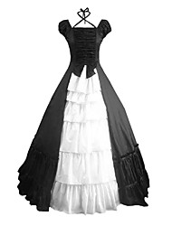 cheap -Victorian Rococo Costume Women's Dress Masquerade Party Costume Black Vintage Cosplay Other Cotton Short Sleeves Cap Floor Length