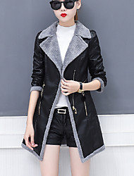 cheap -Women's Going out Plus Size Simple Casual Winter Leather Jacket,Solid Peaked Lapel Long Sleeves Long PU