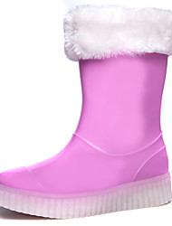 cheap -Girls' Shoes PVC PU Winter Rain Boots Light Up Shoes Boots Water Shoes Knee High Boots Mid-Calf Boots for Casual Outdoor Black Blue Pink