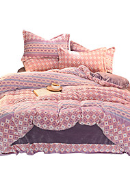 cheap -Duvet Cover Sets Florals 4 Piece Flannel Reactive Print Flannel 1pc Duvet Cover 2pcs Shams 1pc Flat Sheet