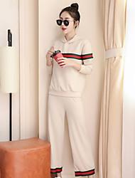 cheap -Women's Suits Pajamas,Striped Cotton Polyester Black Beige