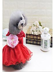 abordables -Chat Chien Robe Vêtements pour Chien Floral/Botanique Rouge Vert Rose Polaire Costume Pour les animaux domestiques Décontracté /