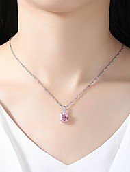 cheap -Women's Cubic Zirconia Rhinestone Crystal Cubic Zirconia Pendant Necklace - Simple Elegant Pink Necklace For Wedding Evening Party