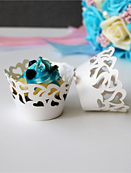 cheap -50pcs/lot Spindrift Style  laser Cut Cupcake cake Wrappers Cup Paper For Wedding Birthday Baby Shower Decoration.