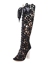 preiswerte -Damen Schuhe Kunstleder Sommer Herbst Modische Stiefel Stiefeletten Komfort Neuheit Stiefel für Hochzeit Normal Schwarz