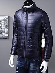 Недорогие -Пальто Простой Короткая На подкладке Для мужчин,Однотонный На каждый день На выход Шелковая ткань Длинный рукав