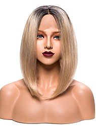 cheap -Synthetic Lace Front Wig Straight Bob Haircut Synthetic Hair Blonde Wig Women's Short Lace Front Wig