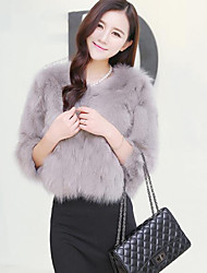cheap -Women's Daily Wear Simple Vintage Casual Winter Fur Coat,Solid Round Neck Long Sleeves Regular Faux Fur Cotton
