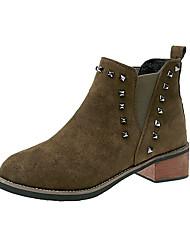 Недорогие -Для женщин Обувь Полиуретан Зима Удобная обувь Ботинки На плоской подошве Круглый носок Ботинки Молнии Назначение Повседневные Черный