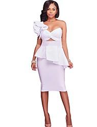 Moulante Robe Femme Soirée simple,Couleur Pleine Bandeau Mi-long Sans Manches Coton Polyester Toute Saison Automne Taille médiale Non