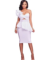 Women's Party Club Casual Bodycon Dress,Solid Bandeau Knee-length Sleeveless Cotton Polyester All Season Fall Medium Waist Inelastic Thin