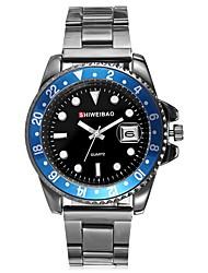 Недорогие -Муж. Модные часы Китайский Кварцевый Календарь Секундомер Защита от влаги Нержавеющая сталь Группа Кулоны Серебристый металл