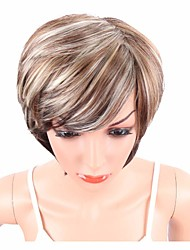 cheap -Women Synthetic Wig Capless Short Wavy Brown Side Part Highlighted/Balayage Hair Layered Haircut With Bangs Party Wig Celebrity Wig