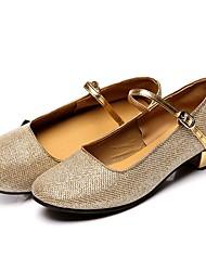 """Femme Chaussures de danse enfant Paillette Brillante Sandale Talon Basket Intérieur Talon Bottier Or Argent 1 """"- 1 3/4"""" Personnalisables"""