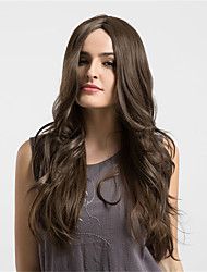 cheap -Women Synthetic Wig Brown  Long Wavy  Middle Part Comfortable wig