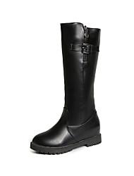 cheap -Women's Shoes PU Winter Fall Comfort Boots Flat Heel Mid-Calf Boots Buckle for Casual Black Khaki