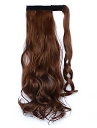 cheap -16 inch Dark Wine Platinum Blonde Light Blonde Dark Auburn Medium Auburn Clip In Wavy Ponytails Wrap Around Human Hair Hair Piece Hair