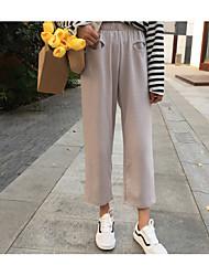 Feminino Simples Moda de Rua Cintura Média Micro-Elástica Perna larga Chinos Calças,Perna larga Chinos Sólido