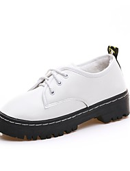 cheap -Women's Shoes PU Winter Comfort Combat Boots Oxfords Round Toe Beading For Casual Black White