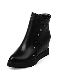 Women's Shoes PU Leatherette Winter Comfort Novelty Bootie Boots Round Toe Booties/Ankle Boots Rivet For Party & Evening Dress Burgundy