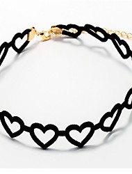 cheap -Women's Heart Silver Plated Gold Plated Choker Necklace - Casual Fashion Lovely Sweet Heart Black Necklace For Daily Date