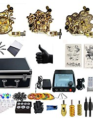 cheap -Tattoo Machine Professional Tattoo Kit 3 alloy machine liner & shader High Quality 2 x aluminum grip 4 x disposable grip 50 Classic Daily