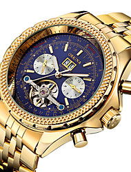 cheap -Men's Skeleton Watch Military Watch Mechanical Watch Swiss Automatic self-winding Calendar / date / day Chronograph Water Resistant /