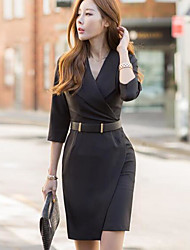 Women's Work Sheath Dress,Solid V Neck Above Knee 3/4 Sleeve Polyester Fall High Waist Micro-elastic Thick
