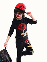 cheap -Girls' Jacquard Classic Vintage Clothing Set,Cotton All Seasons Long Sleeves Casual Street chic White Black Gray