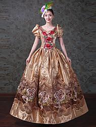 Rétro Rococo Victorien Costume Femme Adulte Une Pièce Robes Costume de Soirée Bal Masqué Doré Vintage Cosplay Satin/ Tulle Tulle Sans